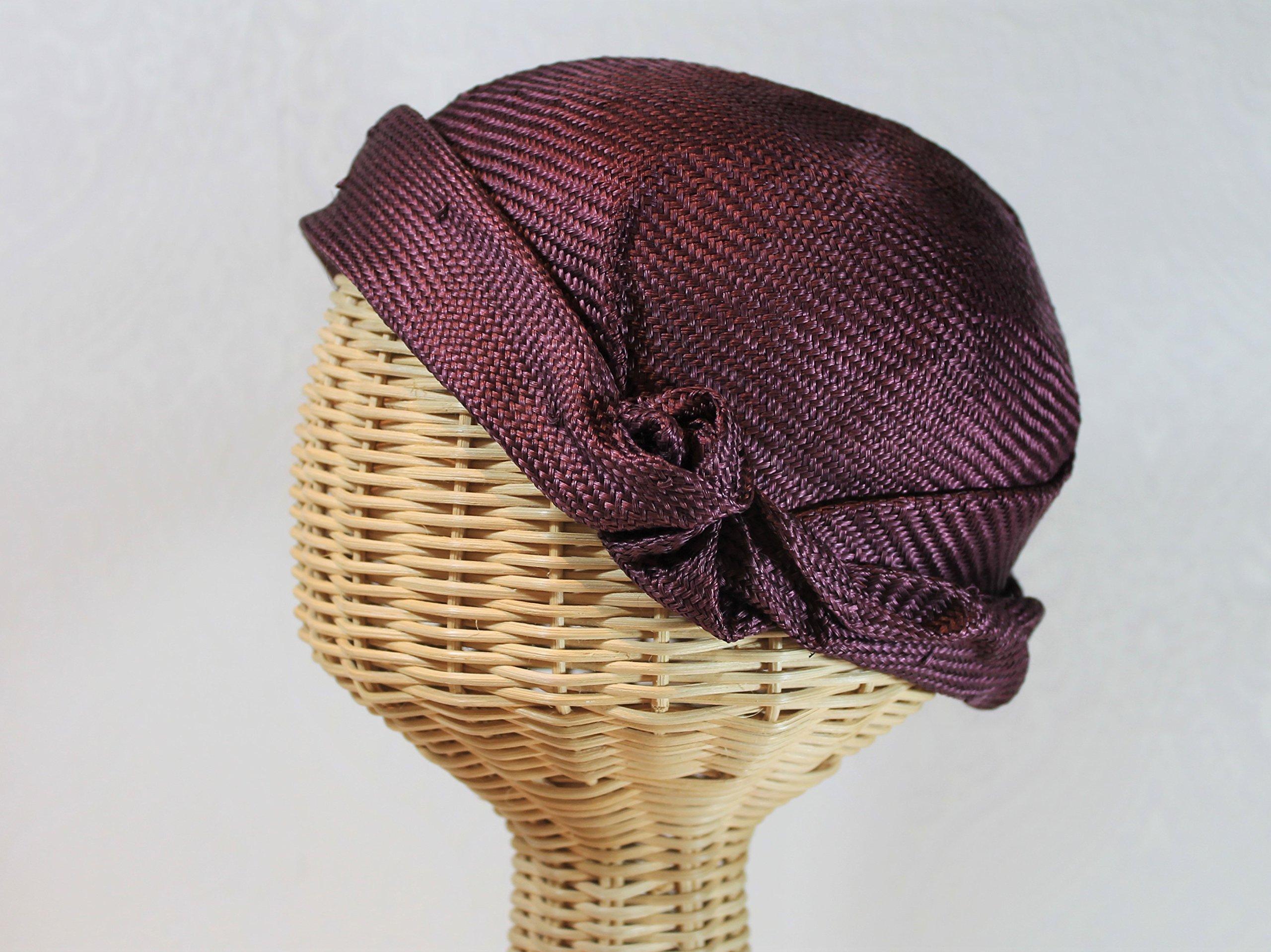 Rose Women's Straw Flapper Cloche in Mulberry