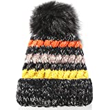SSLR Adult Winter Knit Thick Fur Pom Pom Fleece Beanie Hats