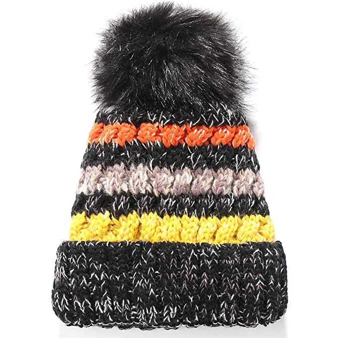 SSLR Adult Thick Fur Knitted Pom Fleece Winter Beanie Hats (One Size ... 3b74ee84f470