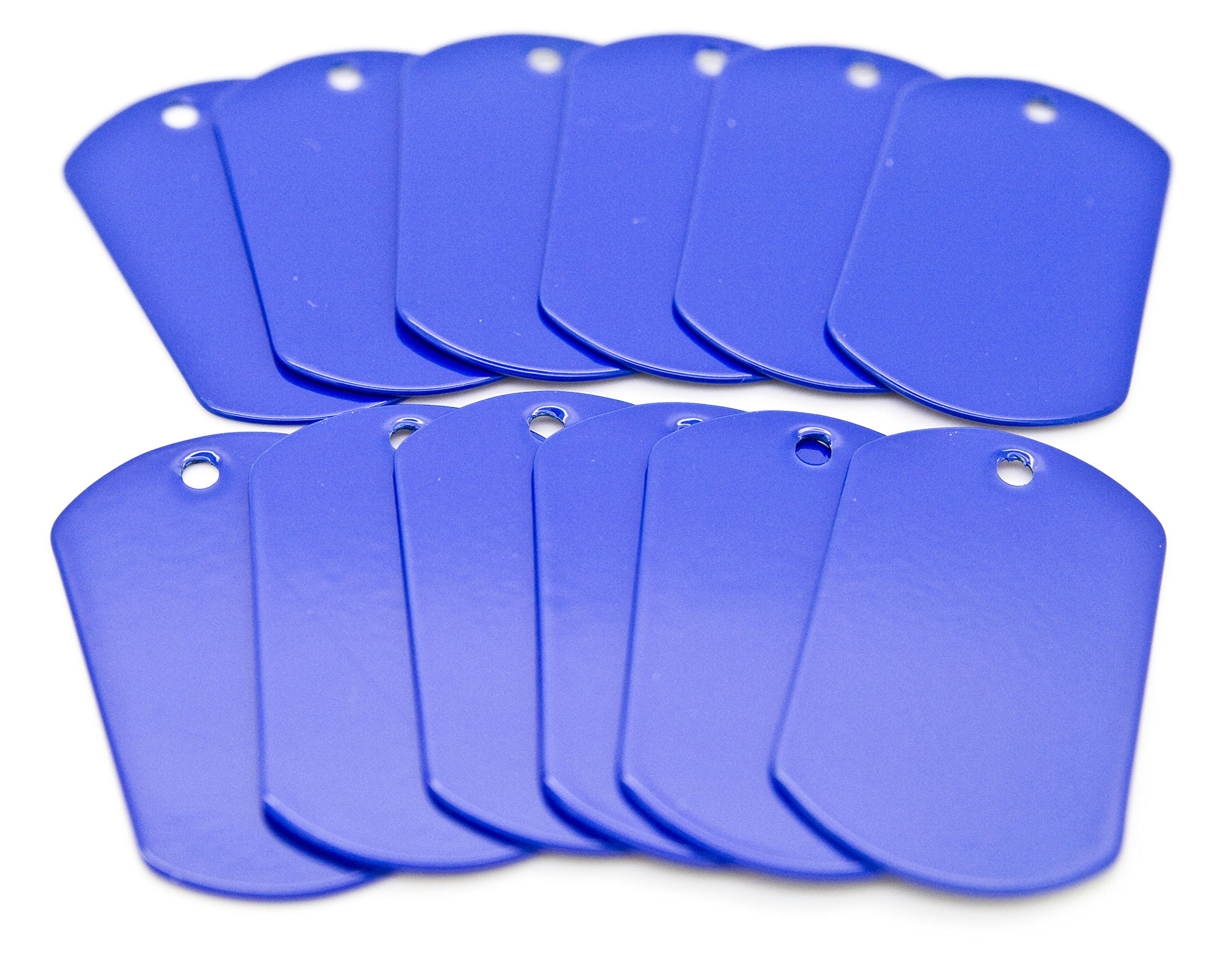 100 pcs Blue Color Stainless Steel Military Spec Dog Tags by OnDepot.com