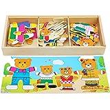 Toys of Wood Oxford vesti la famiglia orsi puzzle in legno- puzzle legno bambini 3 anni