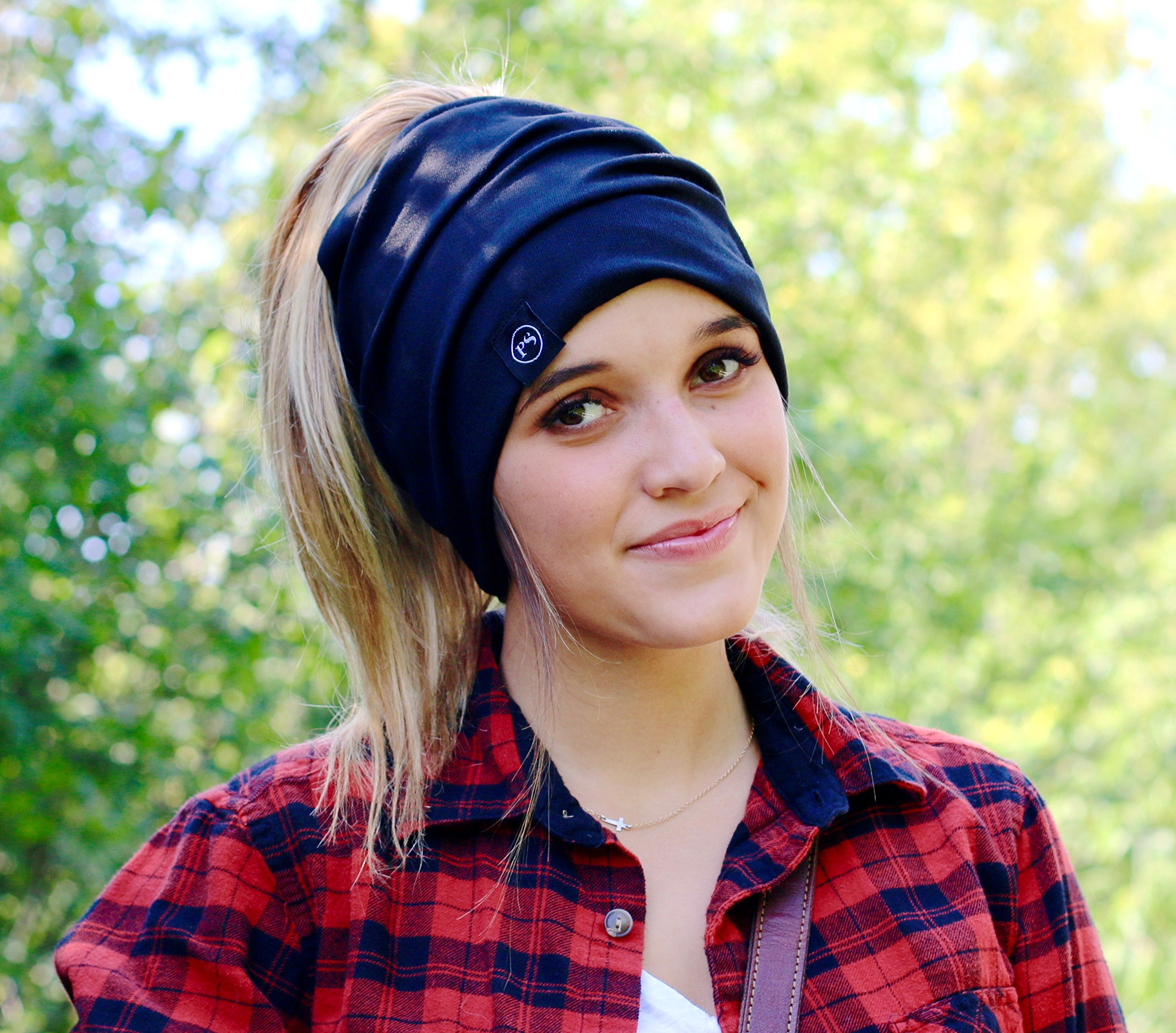 Peek a Boo Women's Beanie Slouchy Beanie with Hole for Pony Tail or Sloppy Bun perfect for Work Out by Pretty Simple (Black) by Pretty Simple (Image #7)