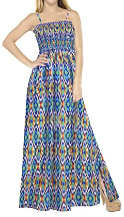 c62fae9393 LA LEELA Geometric Pattern Long Tube Beachwear Dress Blue_A63 OSFM 2-14 [XS-