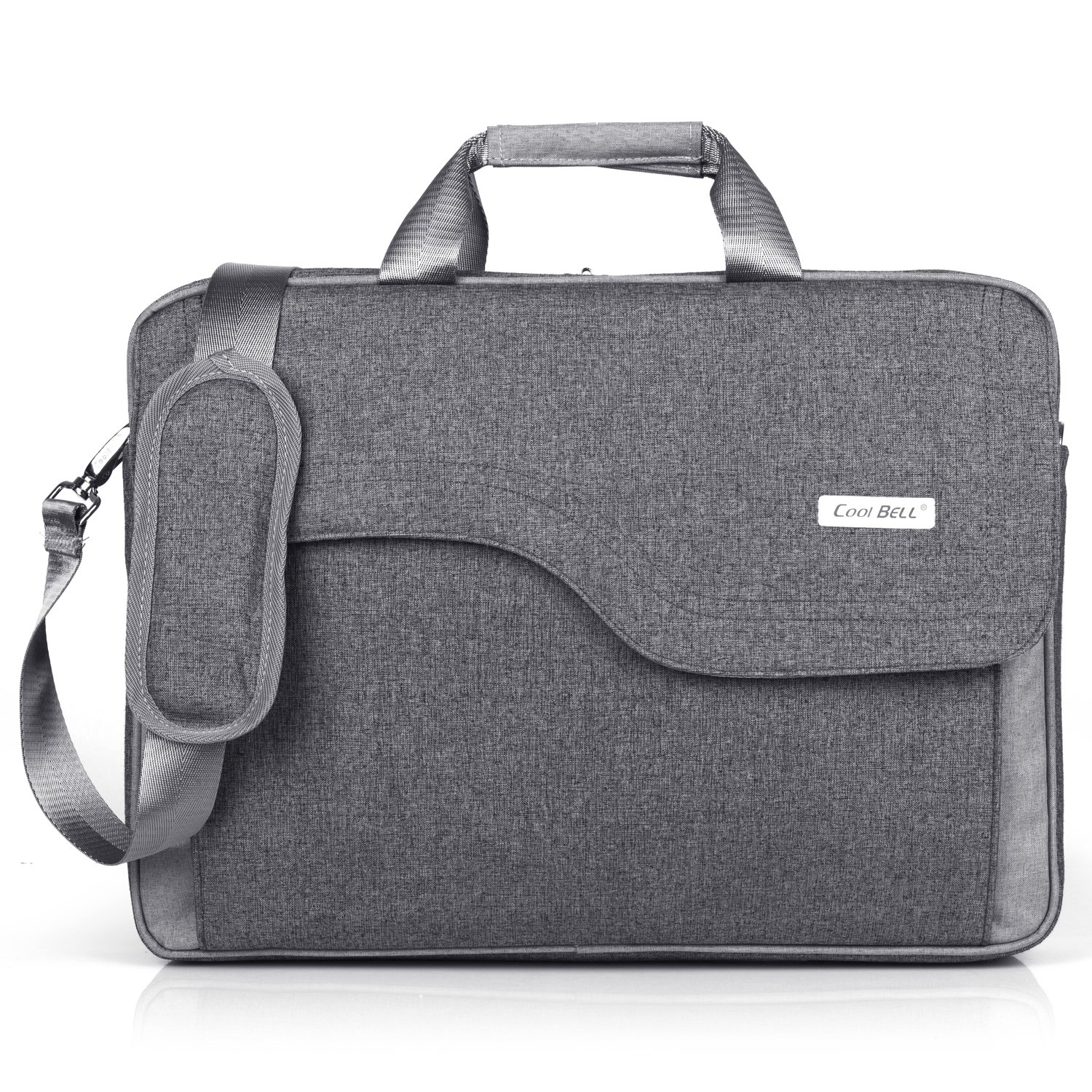 b775eaa213 Amazon.com  CoolBELL 15.6 Inch Laptop Bag Nylon Shoulder Bag Messenger Hand  Bag Briefcase for Men Women (Grey)  Computers   Accessories
