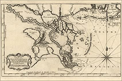 Antique New Orleans Map.24x36 Poster Map Of New Orleans 1764 In French Antique Reprint