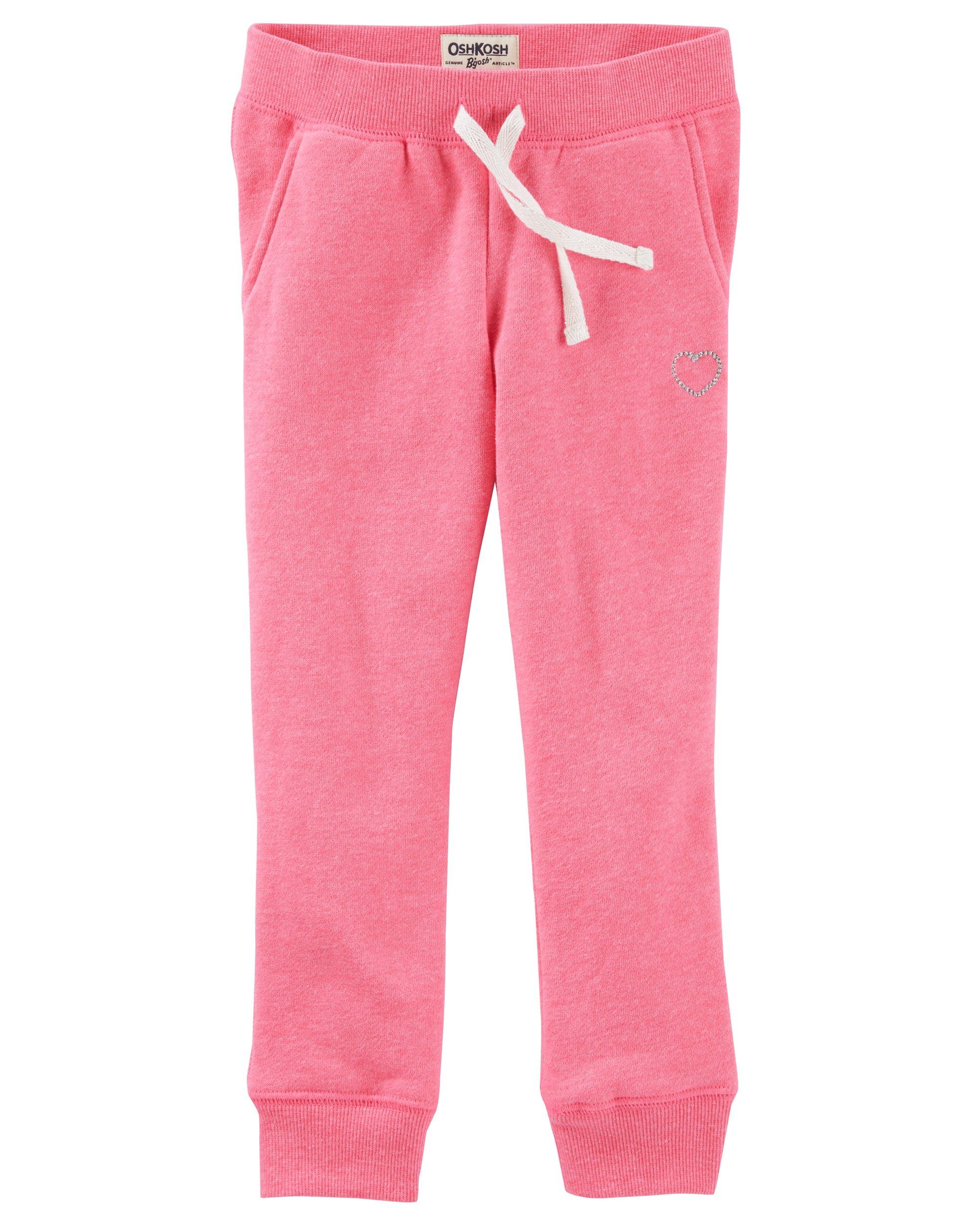Osh Kosh Girls' Toddler Fleece Jogger Pants, Pink, 4T