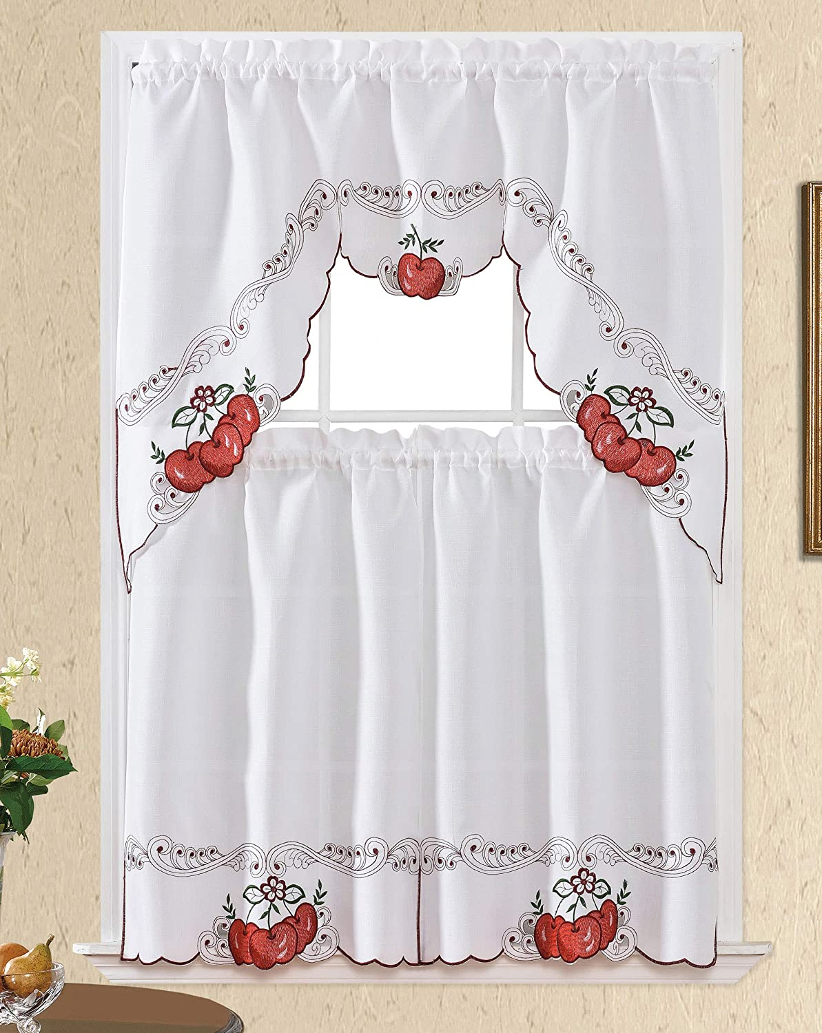 Sweet Harvest. 3pcs Kitchen Cafe Curtain Set. Nice Embroidery Fruit Design with Cutworks. (Swag and 36 inches Tiers Set, Red Apple)