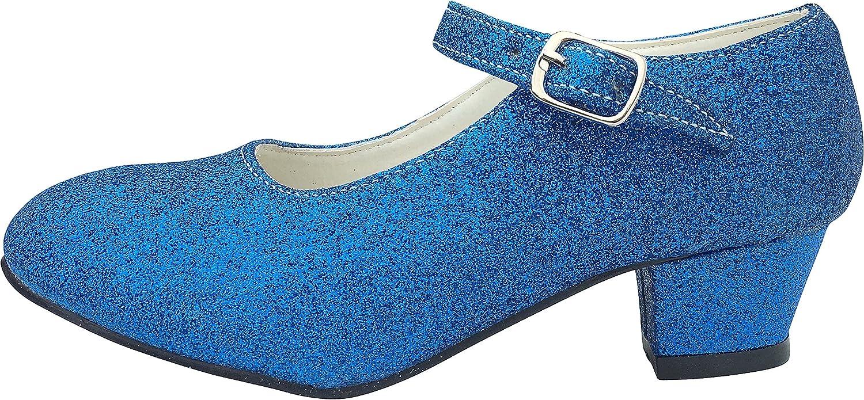Childs Size 1 UK - Inside 21 cm La Senorita Spanish Flamenco Shoes Royal Blue glitter Princess heels dress up