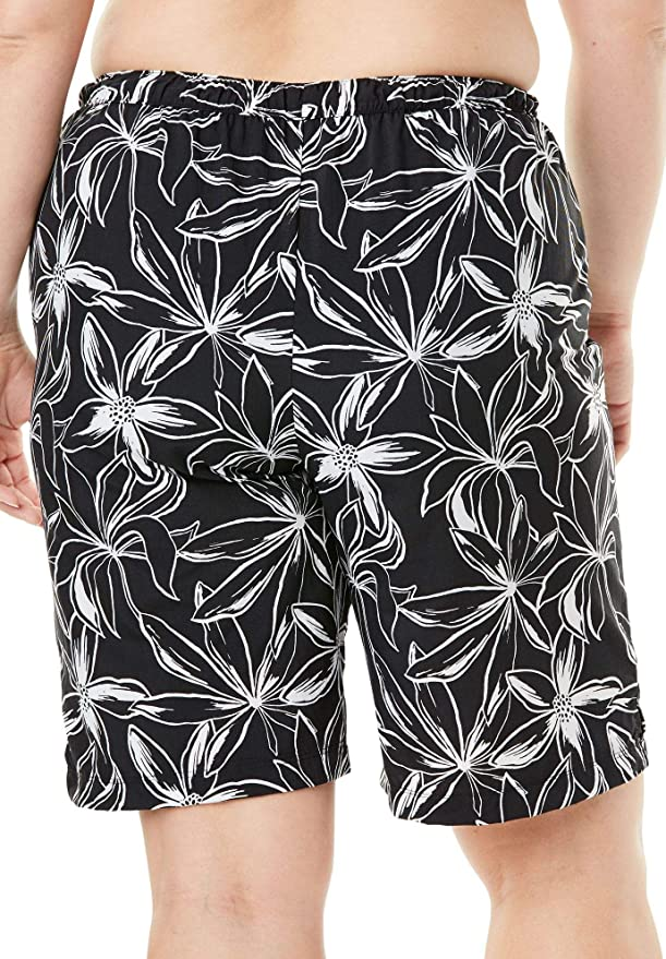 d342d5f8f1 Woman Within Plus Size Taslon Swim Board Shorts with Built-in Brief at  Amazon Women's Clothing store: