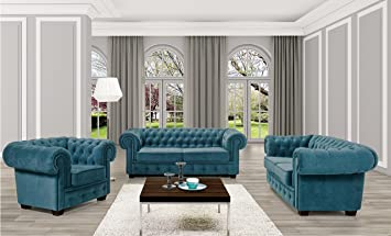 Bmf Chesterfield 3 Piece Suite Turquoise 3 Seater 2 Seater