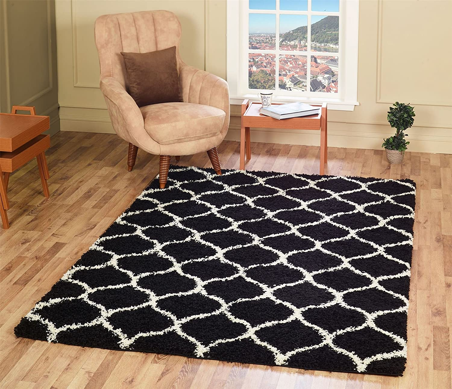 A2Z RUG Cozy Super Trellis Shaggy Rugs Black & Ivory 120x170 cm - 3'9''x5'5'' ft Contemporary Living Dinning Room & Bedroom Soft Area Rug Trellis Shag Collection