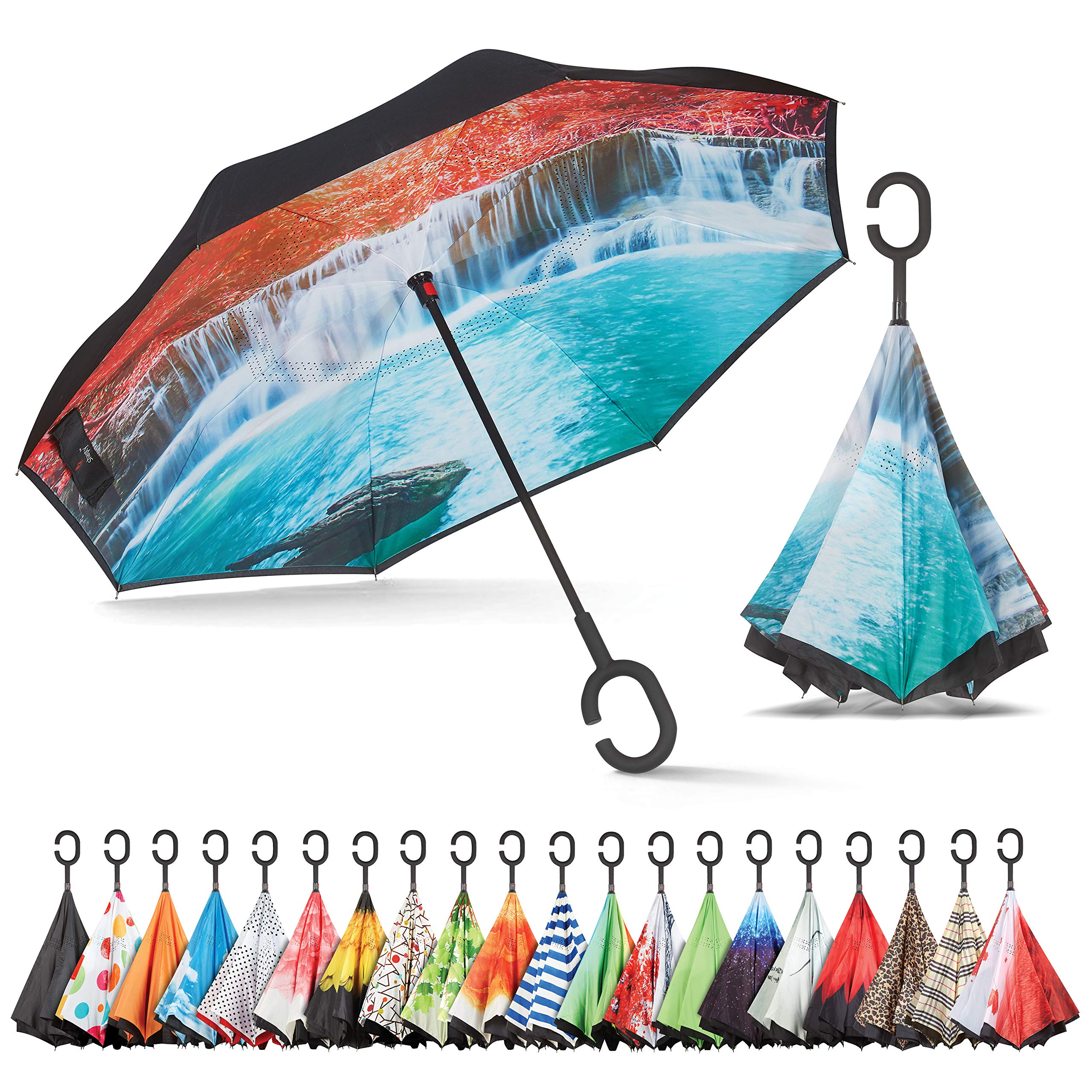 Sharpty Inverted Umbrella, Umbrella Windproof, Reverse Umbrella, Umbrellas for Women with UV Protection, Upside Down Umbrella with C-Shaped Handle (Waterfall)