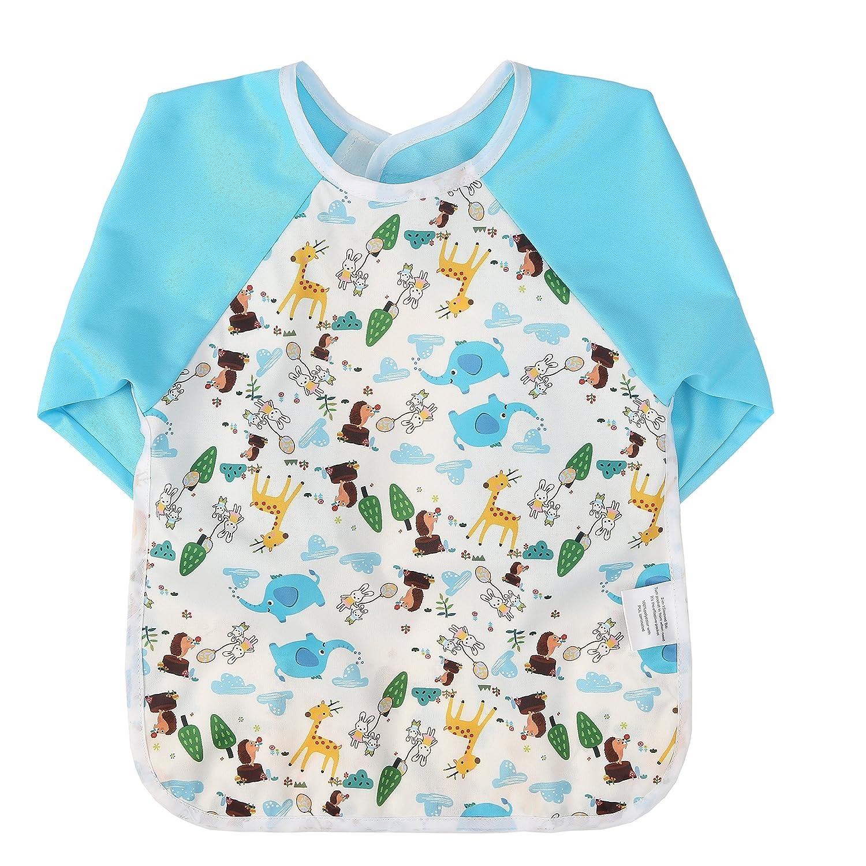 1f9725a1dc1c2 Momloves Cute Cartoon Unisex Infant Toddler Baby Waterproof Sleeved Bib,  Baby Toddler Smock (6-24 Months)
