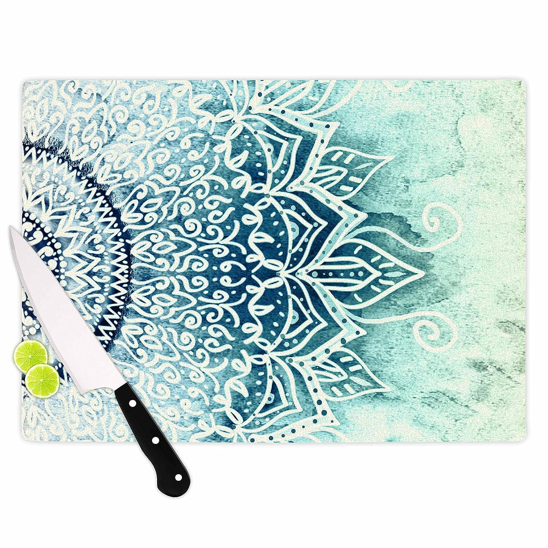 11.5 x 8.25 KESS InHouse Nika MartinezBlue Mina Mandala Navy Green Geometric Cutting Board Multicolor