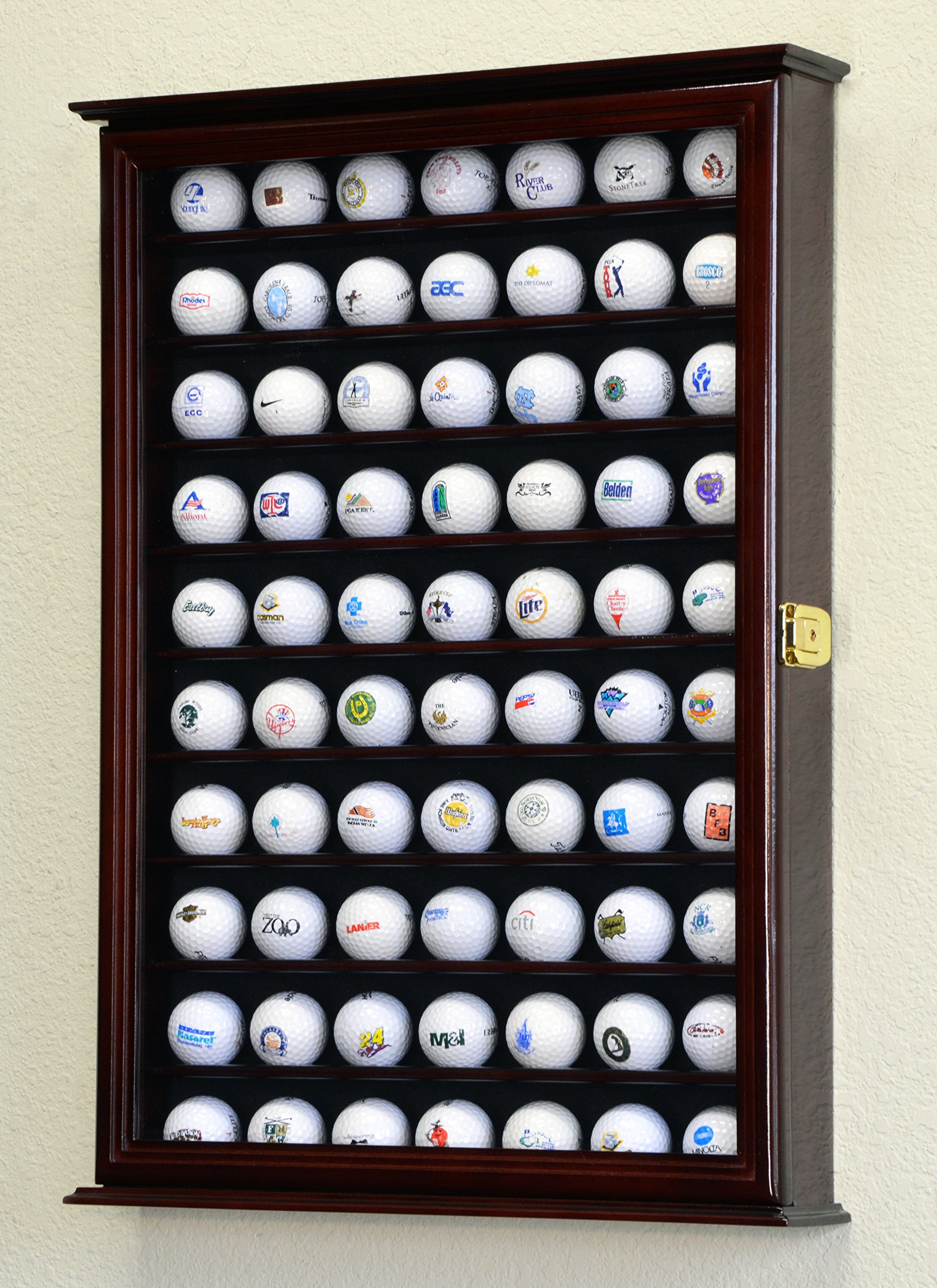 70 Golf Ball Display Case Cabinet Wall Rack Holder w/98% UV Protection Lockable -Cherry
