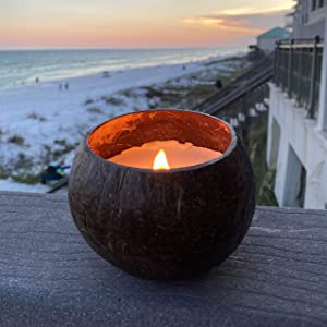 Coconut Bowl Candle with Wooden Wick - Palm Wax - Eco-Friendly Tropical Ocean Decor (Coconut Scent)