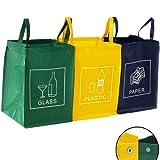 3er Set Mülltrennsystem Abfalltrennsystem für Glas, Plastik und Papier