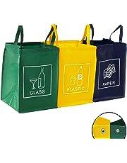 DWD-Company TRESKO Set de 3 bolsas para reciclar basura   Sistema de reciclaje para vidrio, plástico y papel