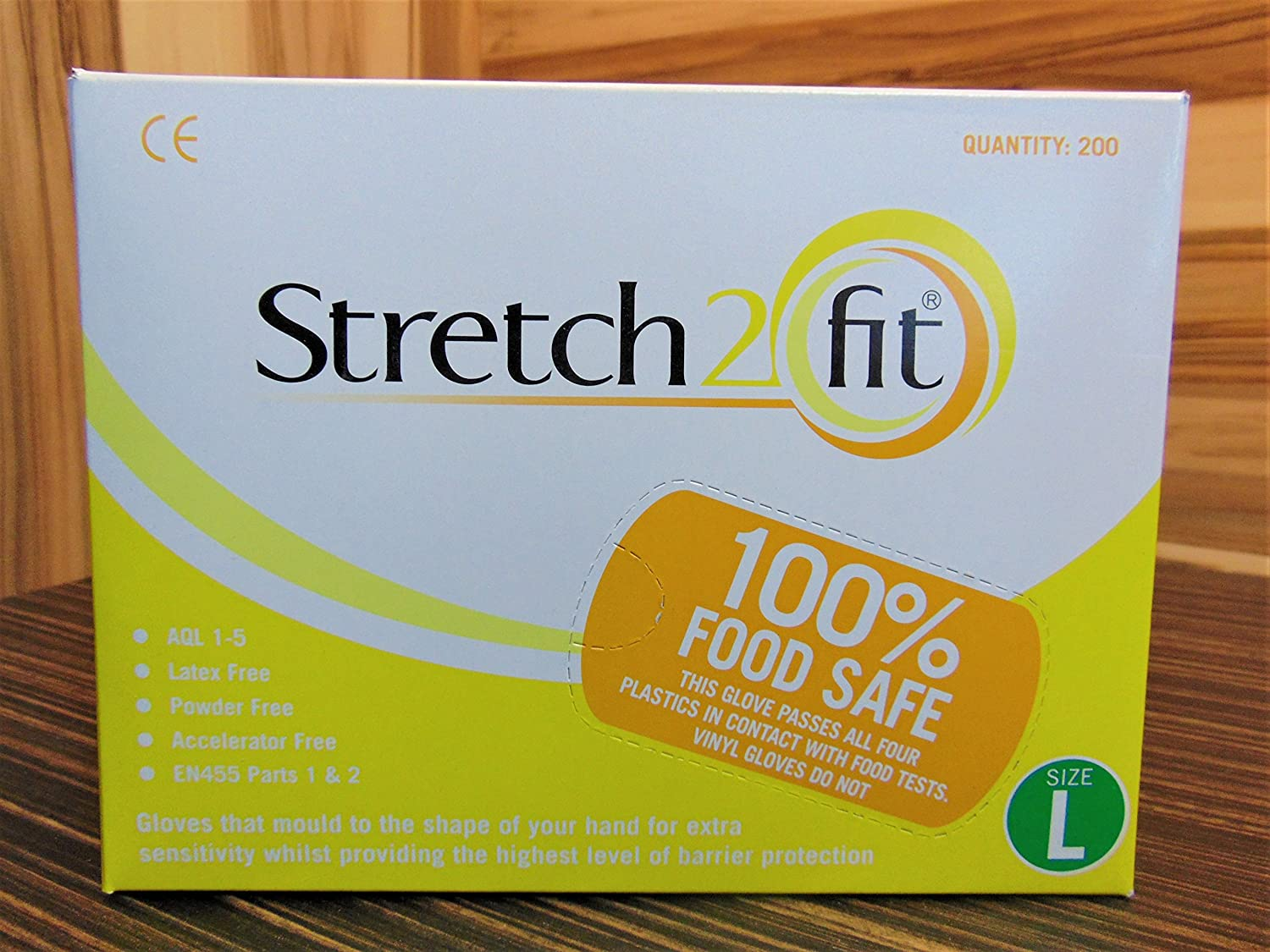Stretch2Fit Latex-Free Unpowdered Gloves 200 Pack Large Yellow
