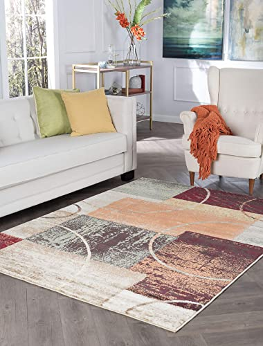 Conner Contemporary Abstract Multi-Color Rectangle Area Rug, 9 x 12.6