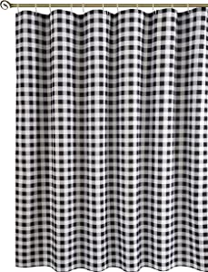 Biscaynebay Textured Fabric Shower Curtains, Printed Checkered Bathroom Curtains, Black and Grey 72 by 72 Inches