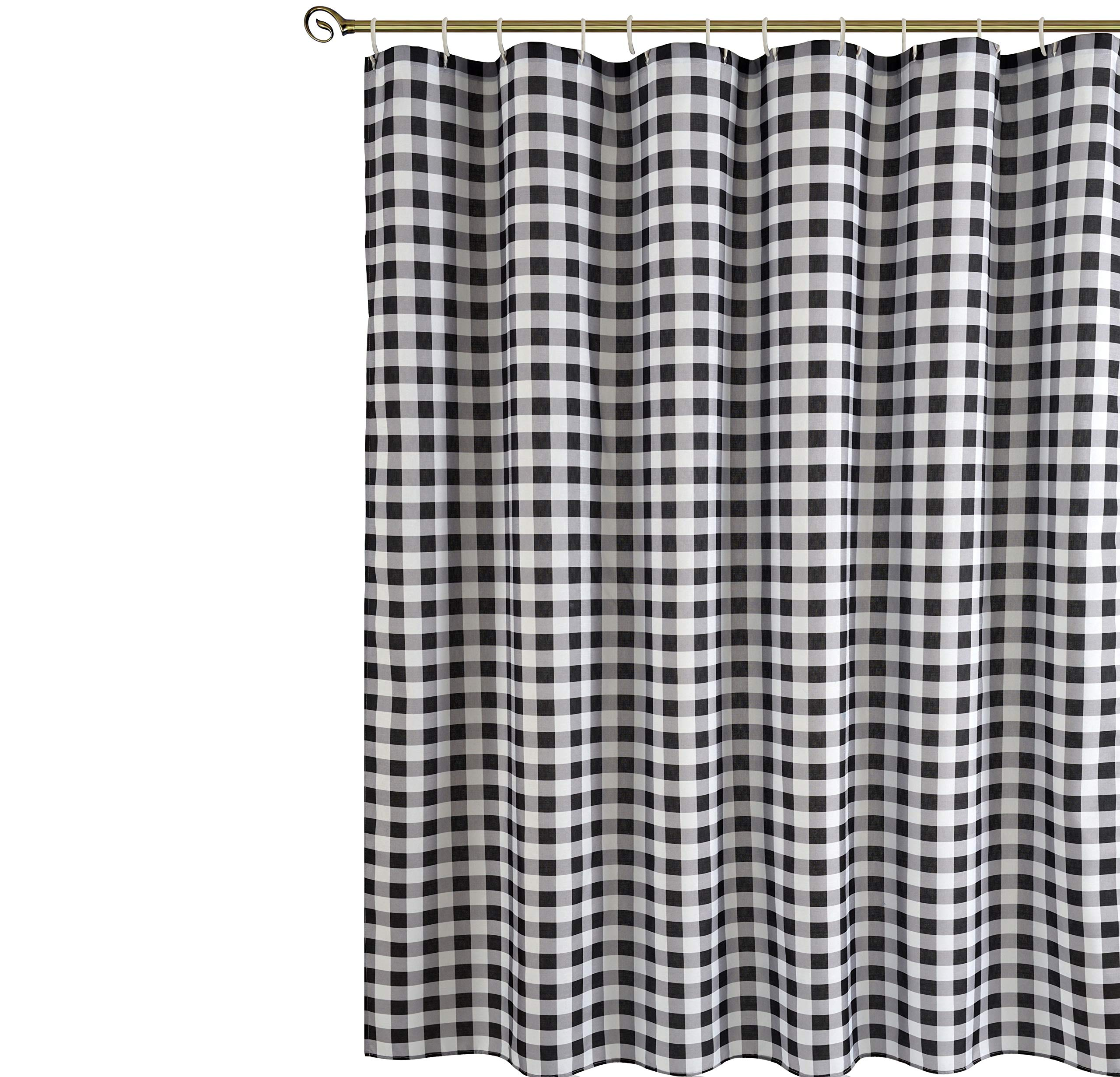 Biscaynebay Textured Fabric Shower Curtains, Plaid Printed Bathroom Curtains, Black and Grey 72 by 72 Inches by Biscaynebay