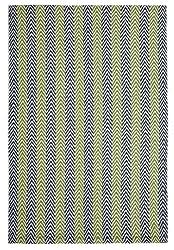 Lanesborough Denim/Green Hand-Woven Washable Eco-Cotton Rug- 3'x5'