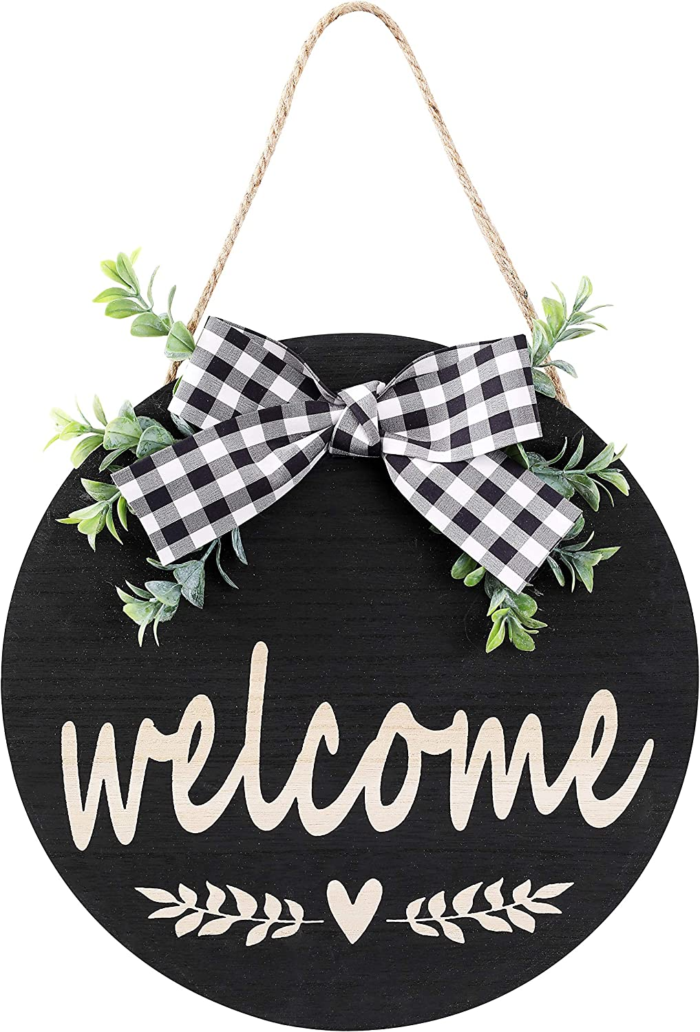 Welcome Sign Rustic Front Door Decor Round Wood Sign Hanging Welcome Farmhouse Porch Decoration Spring Hello Door Sign Home Outdoor Wall Decor (Black)