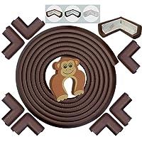 Protectores Para Esquinas y Bordes, EXTRA Largos, EXTRA Densos – OSTRA/NEGRO/CAFÉ MARRON/BLANCO CREMA - Cobertura de 6,2 m con 8 Topes Amortiguadores PREPEGADOS