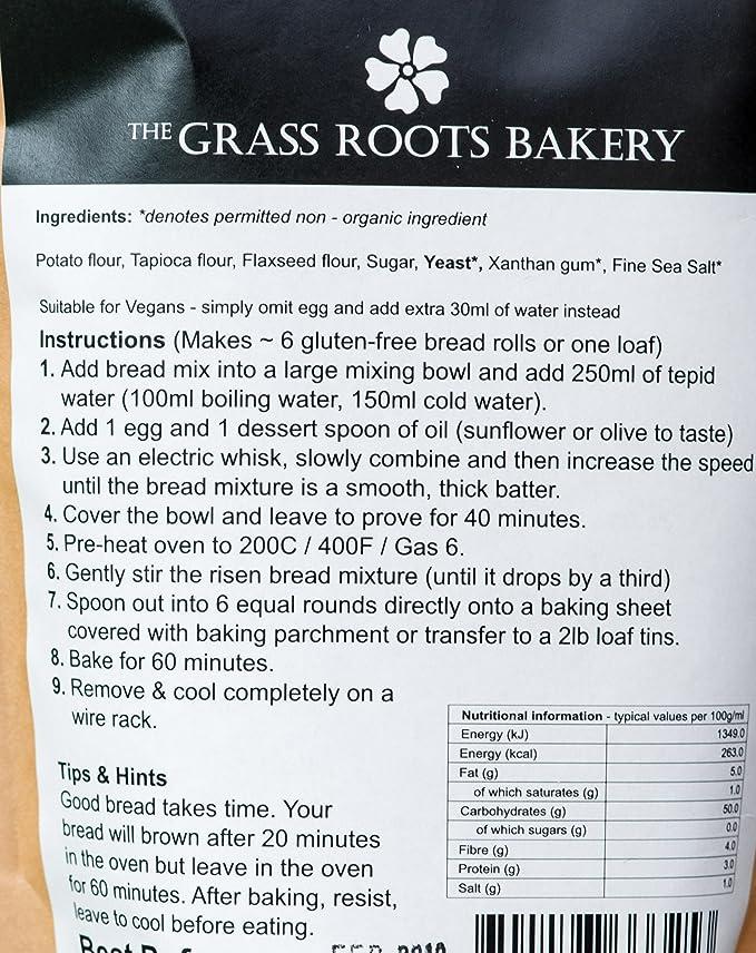 Preparado de Pan Integral Orgánico, Sin Gluten, Libre de Lácteos, Sin Harina de Trigo, Sin Conservantes, 560 g, Hornea 11 Panecillos o 2 Barras, ...