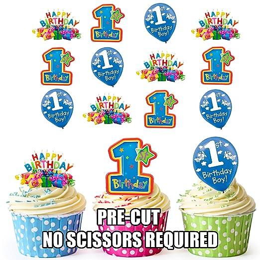 Colorido 1st Tarjeta de cumpleaños niños decoraciones para ...