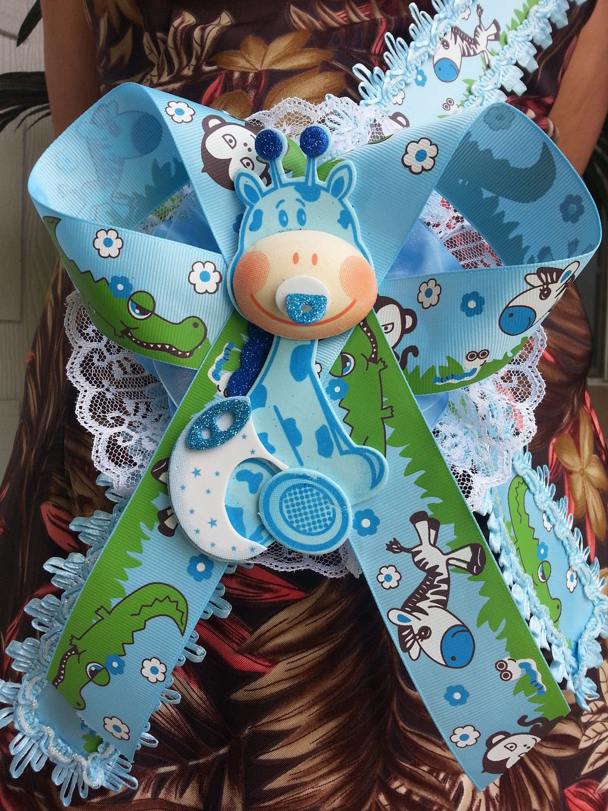 Baby Shower Mom To Be It's a Boy Sash Blue Giraffe Safari Ribbon Corsage Noah's by PRODUCT 789 (Image #3)