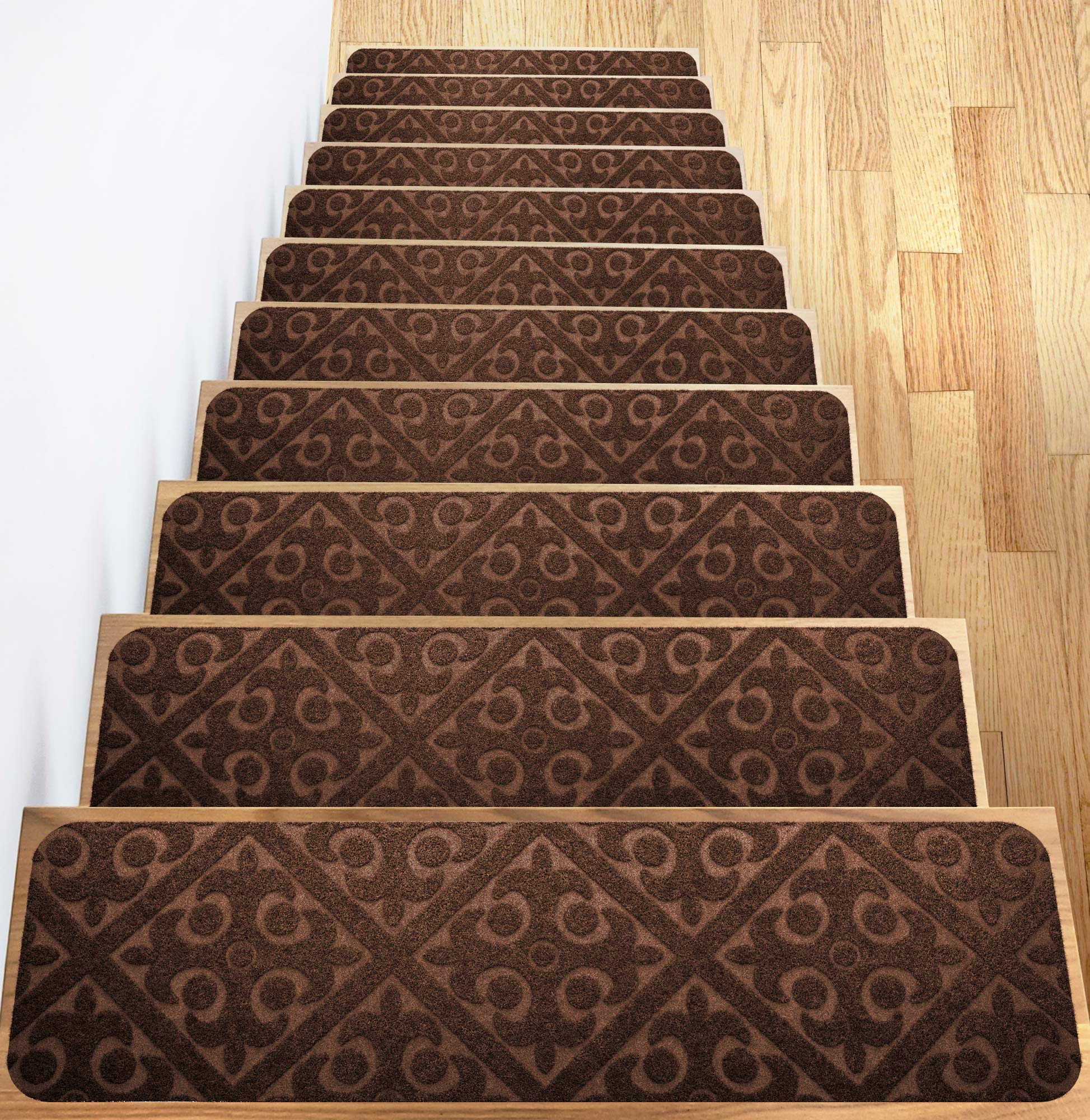Elogio Carpet Stair Treads Set of 13 Non Slip/Skid Rubber Runner Mats or Rug Tread - Indoor Outdoor Pet Dog Stair Treads Pads - Non-Slip Stairway Carpet Rugs (Brown) 8'' x 30'' Includes Adhesive Tape by Elogio
