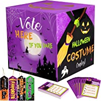 Halloween Party Costume Ballot Box with 50 Voting Cards + 4PCS Award Prize Ribbons Supplies (Assembly Needed) 55PCS
