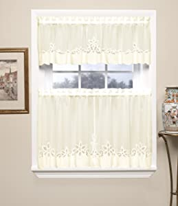 Today's Curtain Plymouth Classic Battenburg Applique Sheer Valance, 14-Inch, Ecru