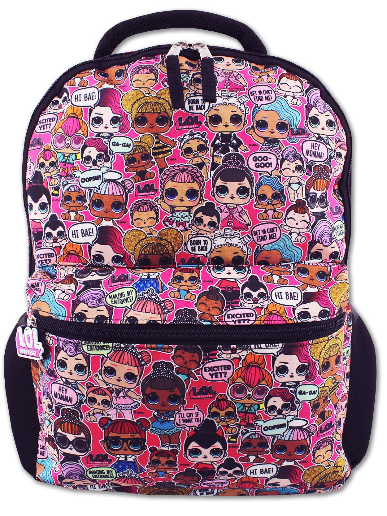 L.O.L. Surprise! Dolls Girls 16'' School Backpack (One Size, Black/Pink)