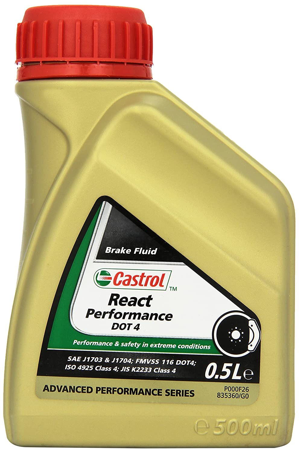 Castrol React Performance DOT 4 Liquide de frein, 500mL Castrol Limited 21878