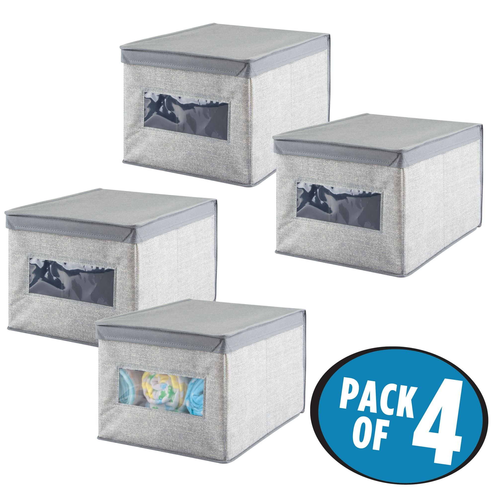 mDesign Soft Stackable Fabric Closet Storage Organizer Holder Box - Clear Window, Attached Hinged Lid, for Child/Baby Room, Nursery, Playroom – Textured Print - Large, Pack of 4, Gray