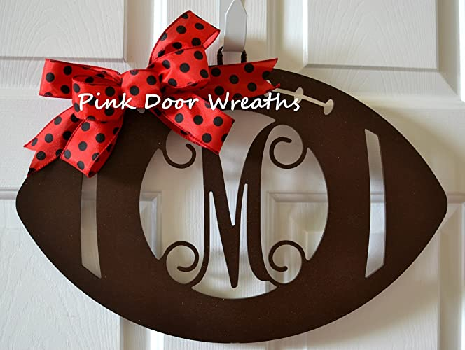 Wooden Sports Football Monogram Initial Letter Outdoor Front Door Hanger  With Bow   LOTS OF COLORS