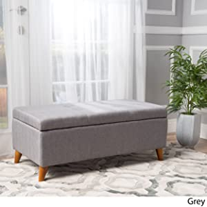 "Christopher Knight Home 299763 Living Katherine Grey Tufted Fabric Storage Ottoman, Dimensions: 19.25""D x 38.00""W x 16.25""H"
