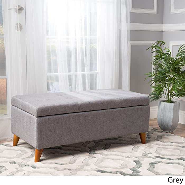 """Christopher Knight Home 299763 Living Katherine Grey Tufted Fabric Storage Ottoman, Dimensions: 19.25""""D x 38.00""""W x 16.25""""H"""