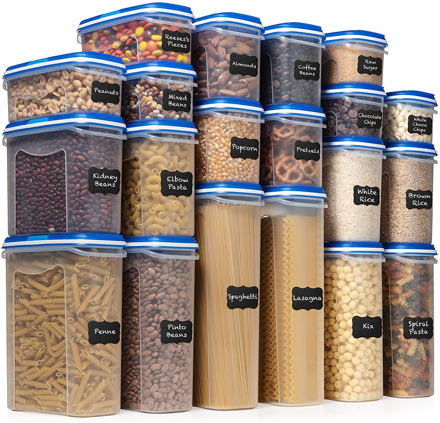 Amazon Com Shazo Food Storage Containers 40 Piece Set 20 Container Set Airtight Dry Food With Innovative Dual Utility Interchangeable Lid One Lid Fits All Freezer Safe Pantry Organization And Stackable Kitchen