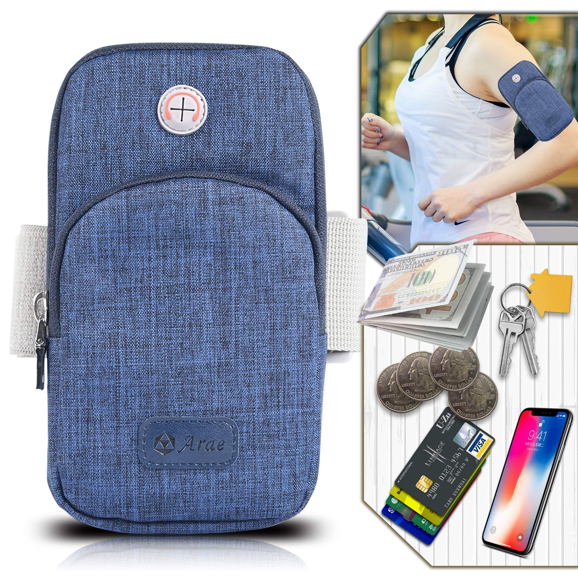 Arae Sports Armband, Running Gym Universal Smartphone Arm Bag with Earphone Hole Multifunctional Pockets for iPhone, Samsung, LG, Moto, Google and All Smartphone - Blue