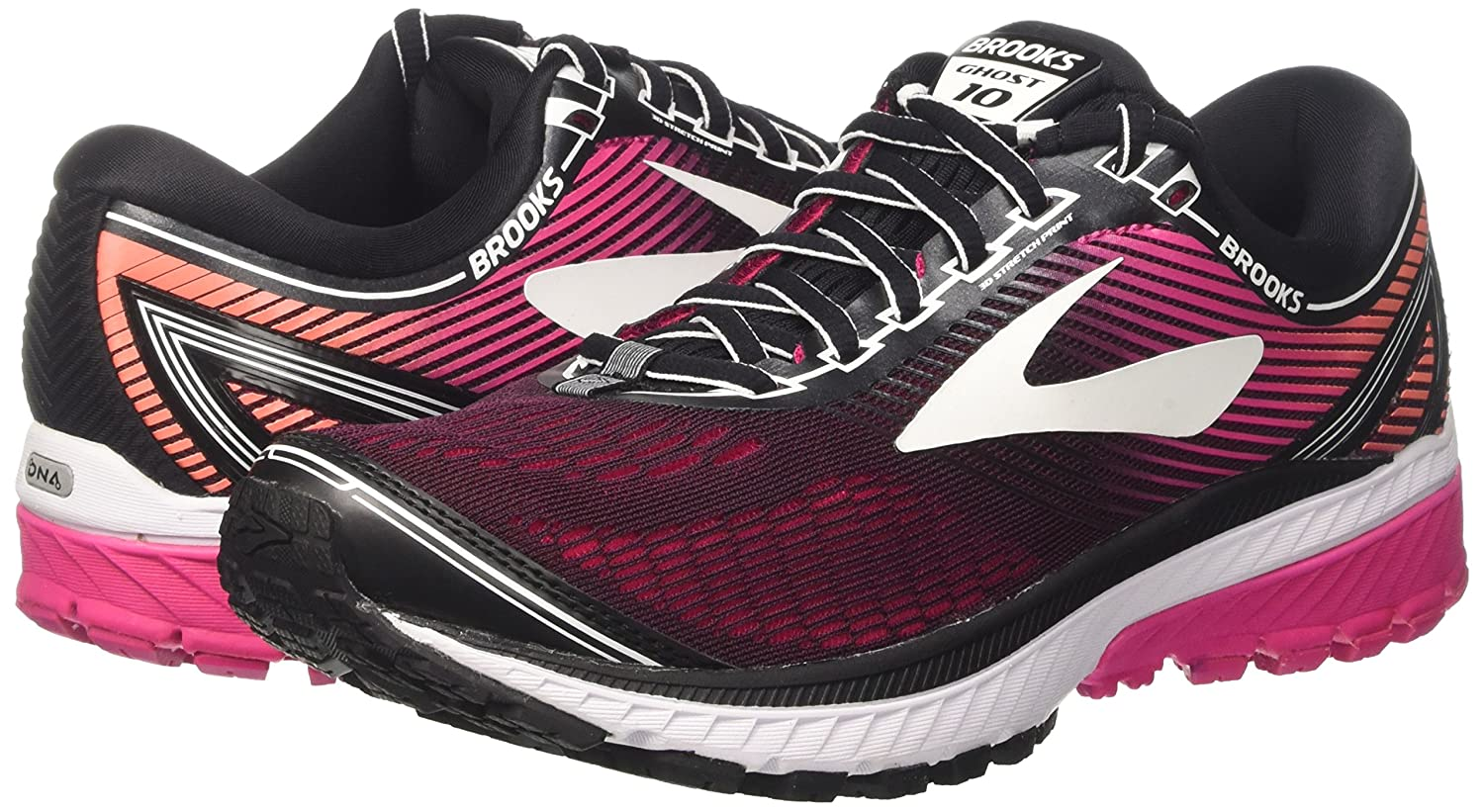 Brooks Women's Ghost 10 Running Shoe B01N8POXBZ 6.5 AA US|Black/Pink Peacock/Living Coral
