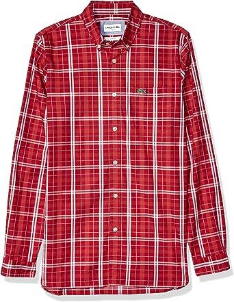 Lacoste Camisa de manga larga para hombre de popelina ...