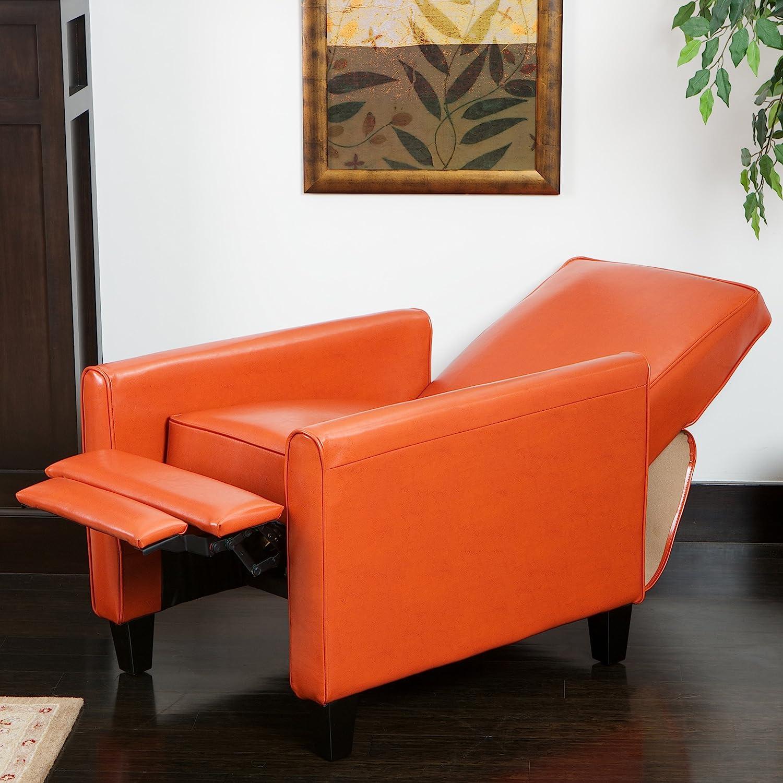 Amazon Lucas Orange Leather Modern Sleek Recliner Club Chair