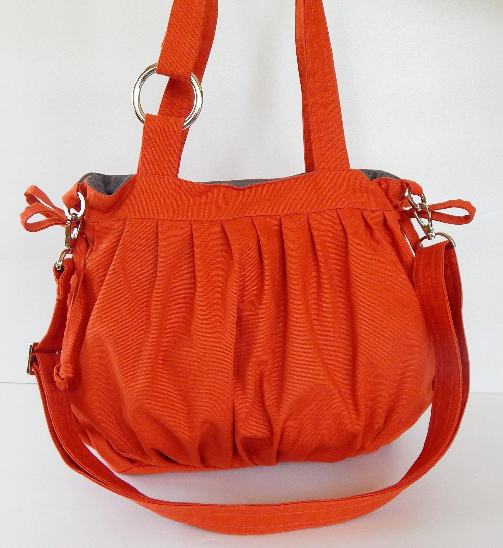 "Virine canvas pleats bag, purse, tote, shoulder bag, everyday bag, travel bag, cross body, women (11""long x 11.5""tall) burnt orange color"