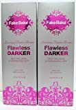 Fake Bake Flawless DARKER - Luxurious Deeper Bronze - Self Tan Liquid & professional Mitt - 6 oz - Set of 2
