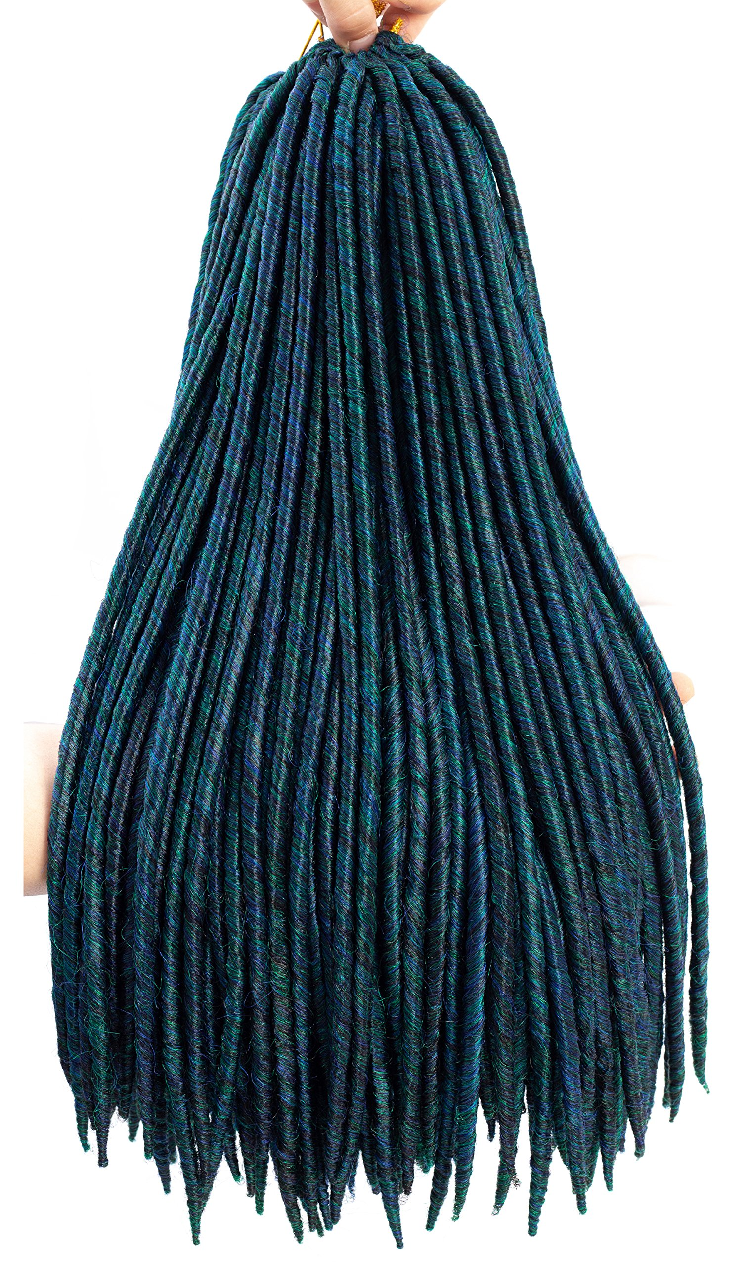 7 Packs Goddess Faux Locs Crochet Hair Extensions Syntheic Crochet Braids Hair Dreadlocks Ombre Braiding Hair 16Strands 85g/Pack(18''1B/BLUE/GEREEN) by Firstcyh Hair