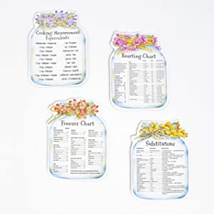 Kitchen Helper Magnets with Ingredient Measurements, Substitutions - Set of 4